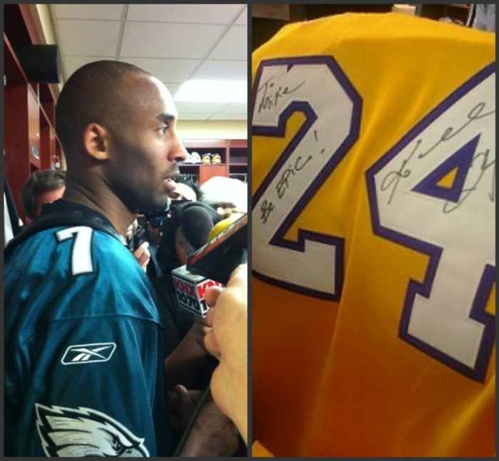 Kobe Bryant wore Michael Vick's Eagles jersey during his post-game interview