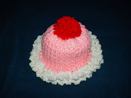 My first project using a pattern, Thanks Robin McCoy  Strawberry Deluxe Sundae Hat