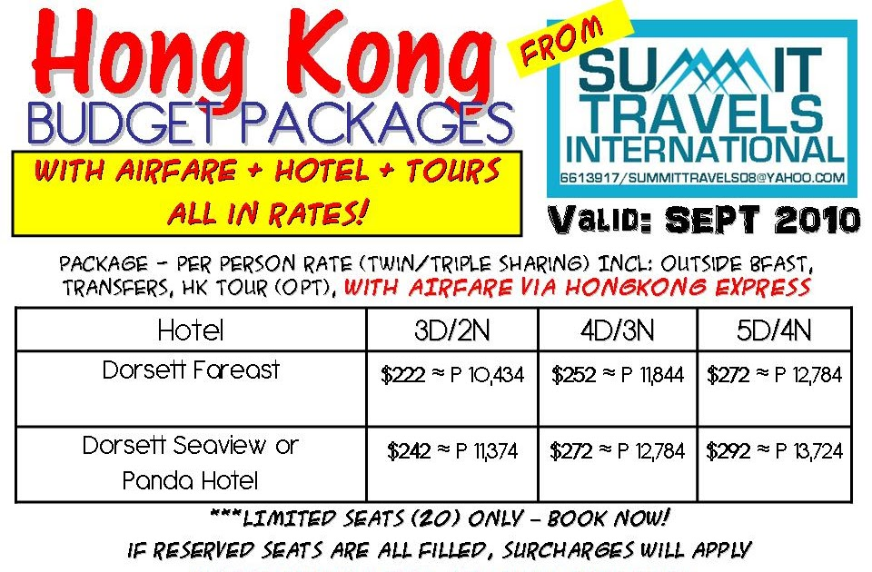 Cheap Travel Package Hong Kong Budget Packages For Sept