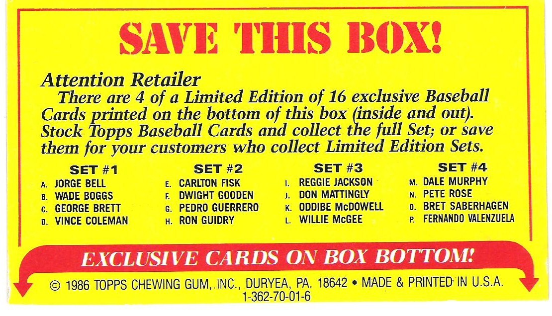 The Fleer Sticker Project 1986 Topps Amp Opc Box Bottom