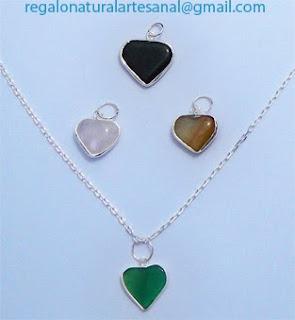 colgantes corazón piedras semipreciosas cuarzo ágata