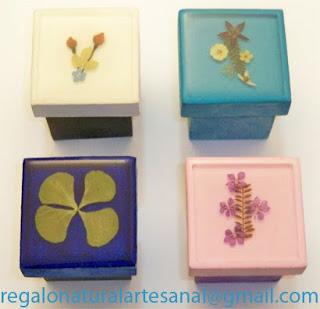 cajitas joyeros artesanales con flores naturales