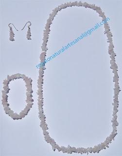 conjunto collar pulsera pendientes de piedra semipreciosa cuarzo rosa