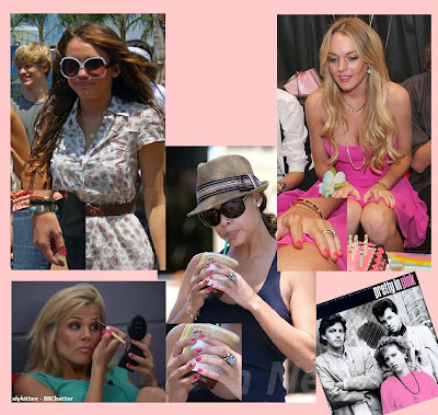 miley cyrus, lindsay lohan, vanessa mannillo, pink, pink nail polish, nail polish, nail lacquer, nails, trends, nail trends, pretty in pink