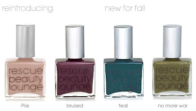 rescue beauty lounge, rbl, rescue beauty, ji baek, nail polish, nail lacquer, fall 2008, nail colour, nail color, teal, no more war, bruised, plie