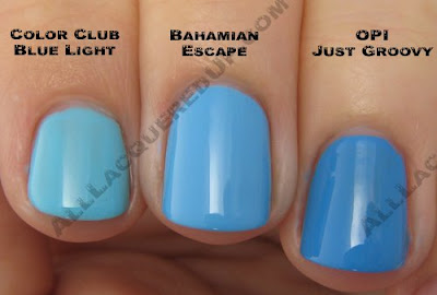 china glaze, bahama blues, winter 2008, nail polish, nail lacquer, nail color, nail colour, blue, bahamian escape, color club blue light, opi just groovy