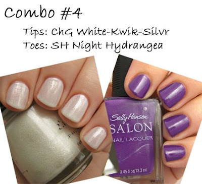 sally hansen tracy reese night hydrangea, china glaze white-kwik-silvr