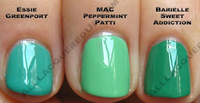 mac peppermint patti essie greenport wm Swatch Request Saturday   Summer Blues &amp; Greens