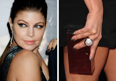 fergie striped nails wolverine screening Get The Look   Fergies Striped Nails at the Wolverine Screening
