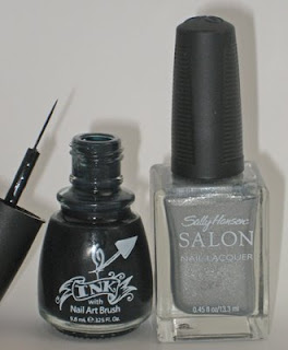 china glaze ink nail art sally hansen shooting star Get The Look   Fergies Striped Nails at the Wolverine Screening