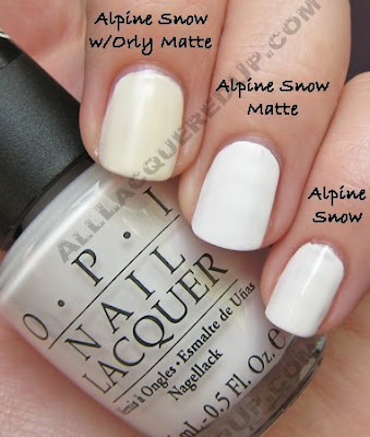 opi alpine snow matte comparison wm OPI Matte Collection Review, Swatches & Comparisons