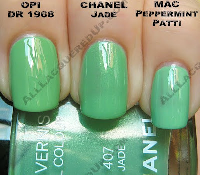 chanel jade nail mac peppermint patti opi damone roberts1 Chanel Jade Nail Collection Swatches & Review
