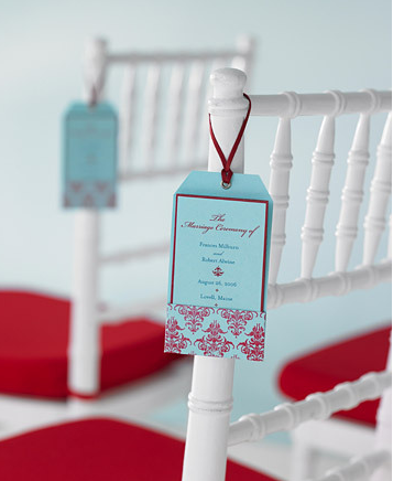 Hanging your wedding program from the ceremony seating not only ensures