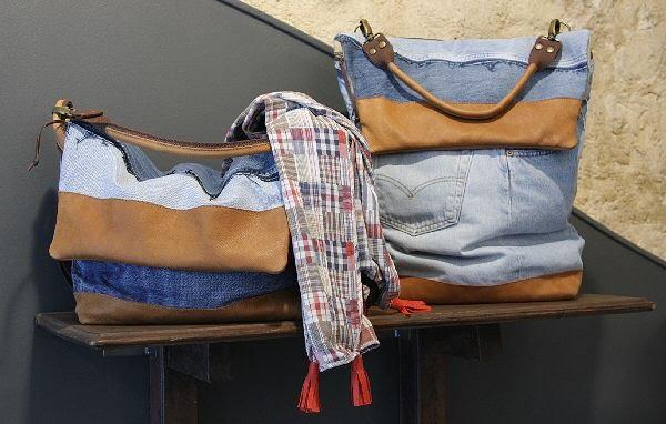 Besace Homme jeans et cuir