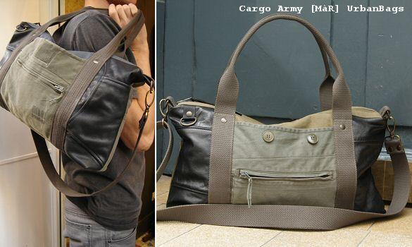 Sac Cargo Army et cuir vintage