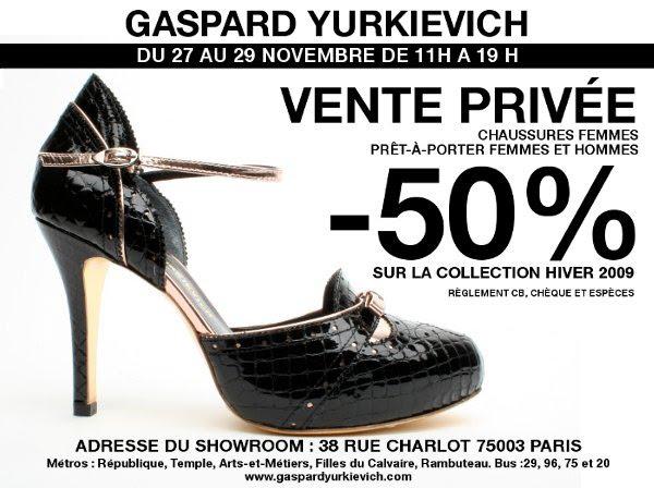 Invitation vente privee Garspar Yurkievich