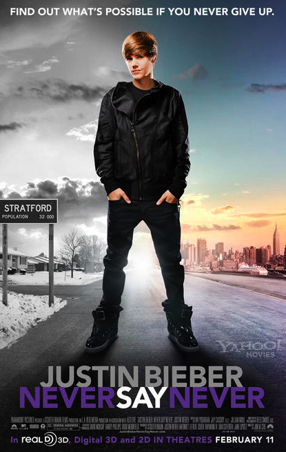 that way on the teen's movie poster for his biography Never Say Never.