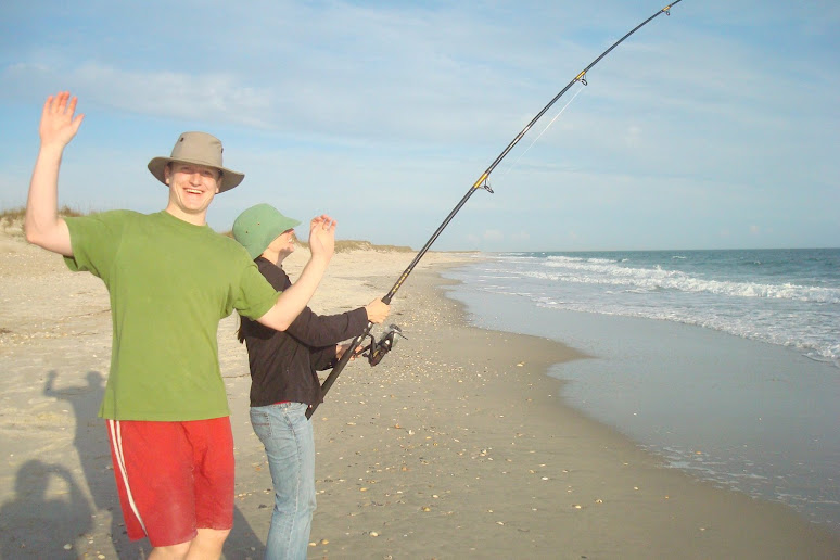 Ben is very excited!! Sally's about to catch a big one!