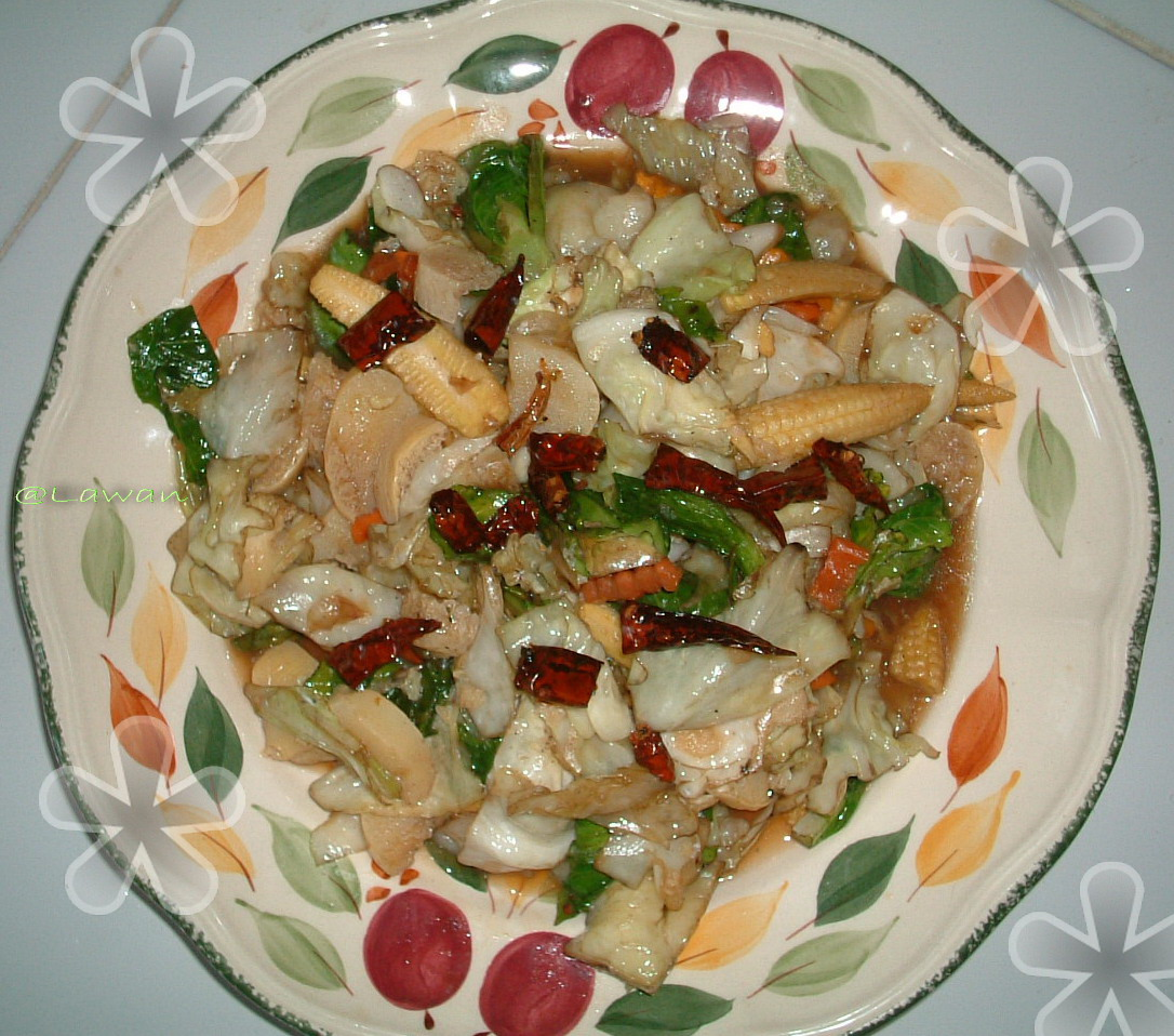 ... ; mixed with Egg Tofu with Dried Chili and Garlic in Oyster Sauce