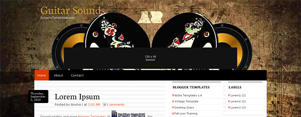 Guitar Sounds Blogger Template