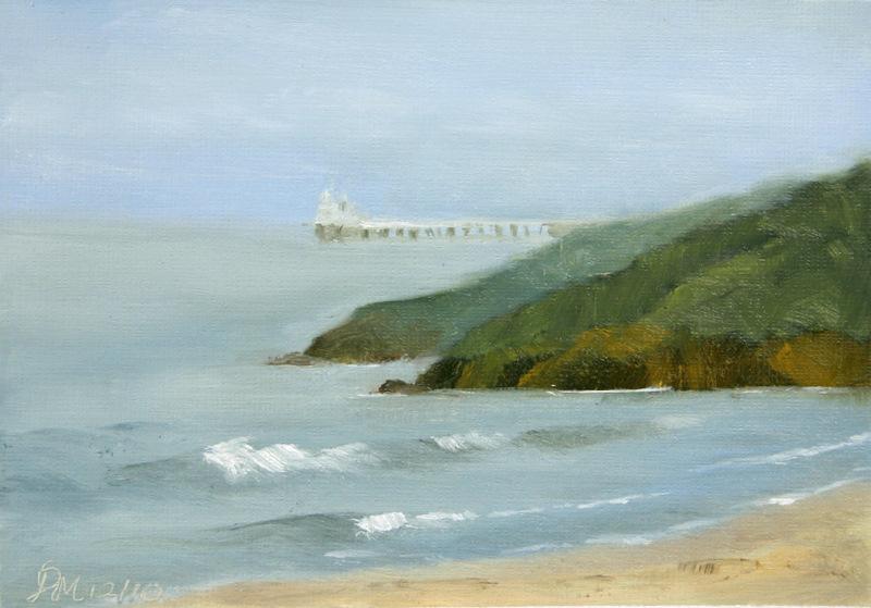 Labels: Mandar Marathe Jetty at Guhagar beach oil color landscape