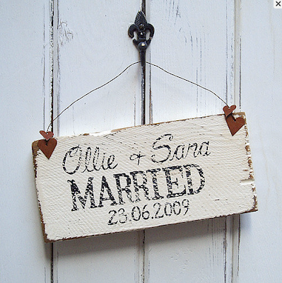 Vintage wedding signs on reclaimed wood