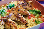 Garlic Chicken over Angel Hair  Pasta with Tomato and Broccoli
