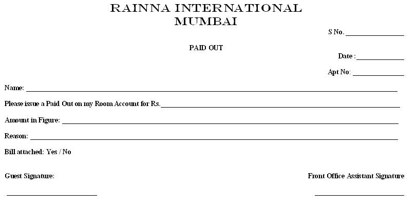 Bank Of Rainna Paid Out Voucher