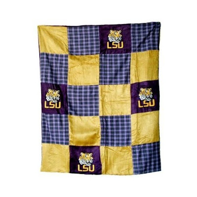 LSU quilt blanket with purple and golf patches and Tiger's head.