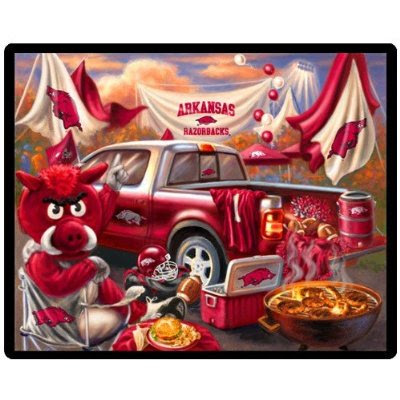 Blanket showing Big Red the University of Arkansas mascot tailgating before a football game. 