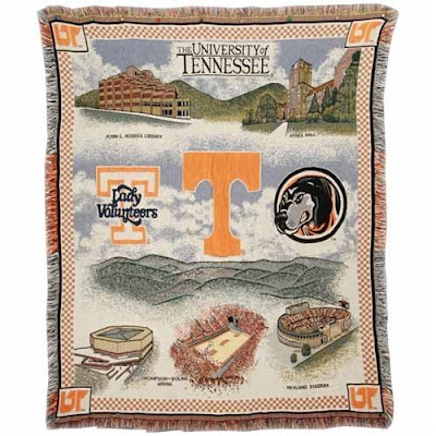 University of Tenn Vols tapestry throw with campus landmarks like Neyland football stadium and Ayres Hall.