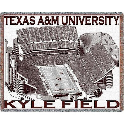 Black and White Texas A & M Aggies Kyle Football Field blanket throw with maroon trim.