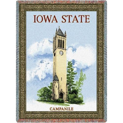 Iowa State (ISU) Cyclones Campanile Hall blanket.