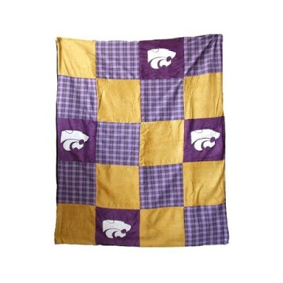 K-State quilt with purple squares.