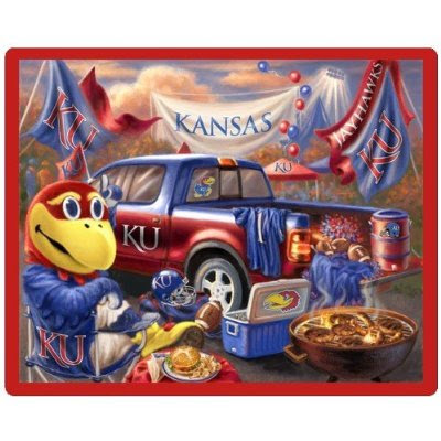 University of Kansas (KU) fleece tailgate blanket for football games.