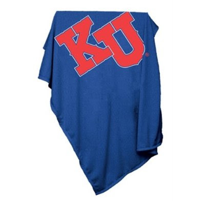 Blue Jayhawks sweatshirt blanket with red KU letters.