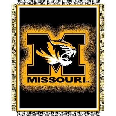 Missouri (MU) Tigers black and gold blanket.