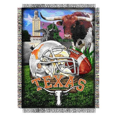 University of Texas (UT) Longhorns football throw blanket.