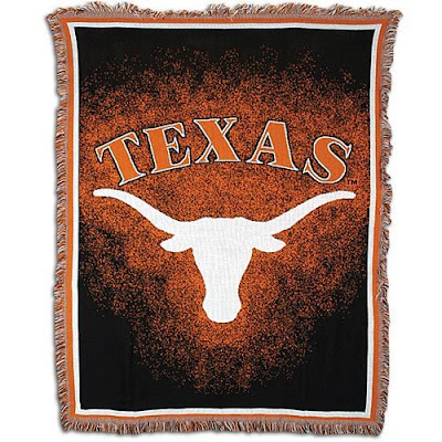Black and burnt orange Texas horns blanket.