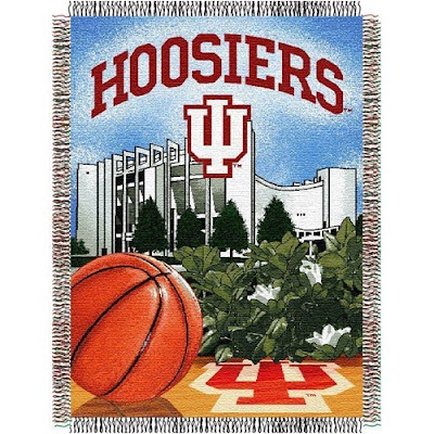 Indiana University (IU) Hoosiers basketball blanket with Assembly Hall pictured.
