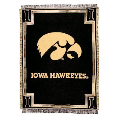Black Iowa Hawkeyes throw blanket.