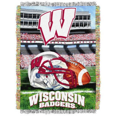 University of Wisconsin Badgers football blanket.