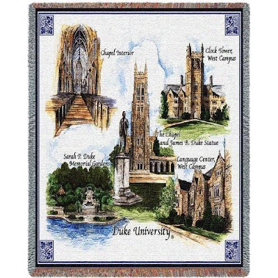 Duke tapestry blanket with Durham campus landmarks.