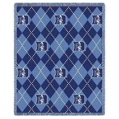 Argyle Duke Blue Devils Blue plaid blanket.