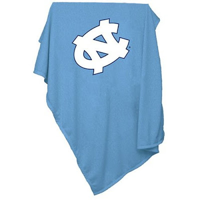 University of North Carolina Chapel Hill baby blanket that is blue.