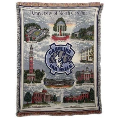 UNC tapestry blanket with campus landmarks.