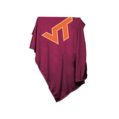 Virginia Tech (VT) maroon sweatshirt blanket.