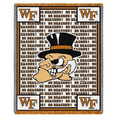 WF Go Deacons white and gold blanket.