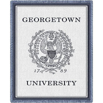 Georgetown University white blanket.