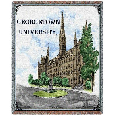 Georgetown University tapestry blanket with the Healy Building.